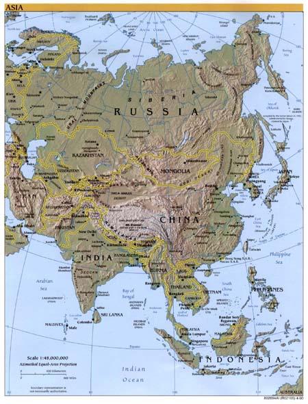 地球上的第一大洲——亚洲地形图